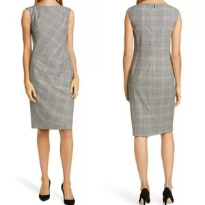 Lafayette 148 Della Houndstooth Dress Sz 4 Gray